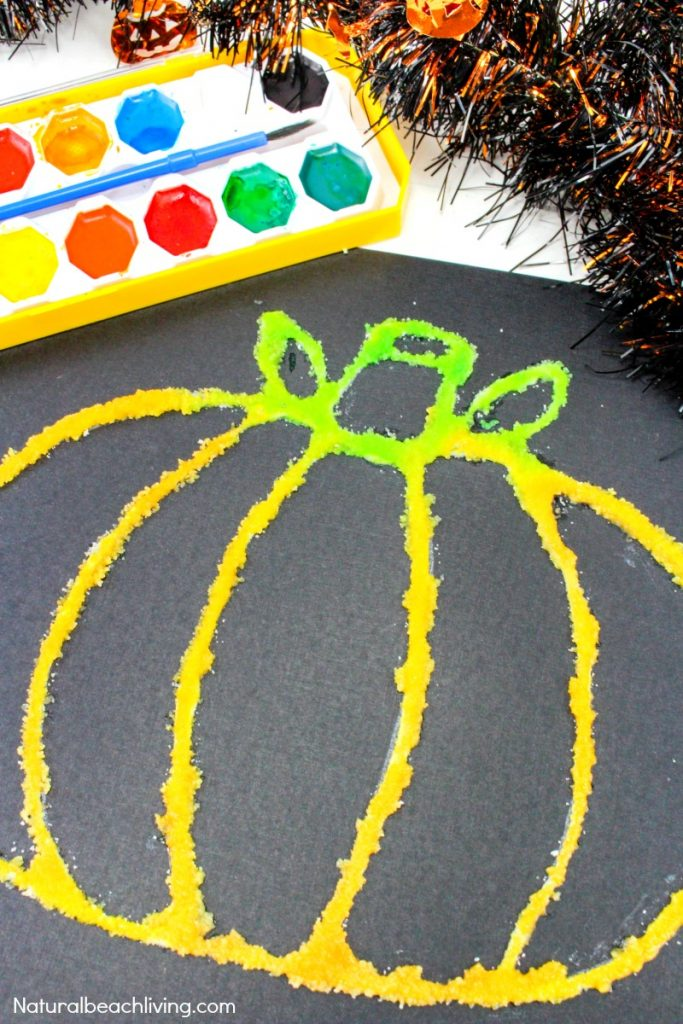 How to Make Halloween Pumpkin Salt Painting, a fun process art with Watercolor Salt Painting for Preschoolers, Pumpkin Preschool Theme, Fun Fall Pumpkin craft kids love, Salt Painting and Halloween Watercolor Painting Preschool