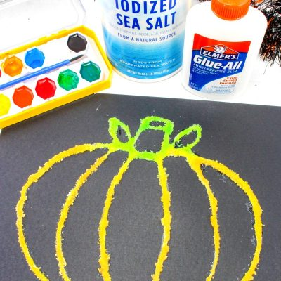 How to Make Halloween Pumpkin Salt Painting with Kids