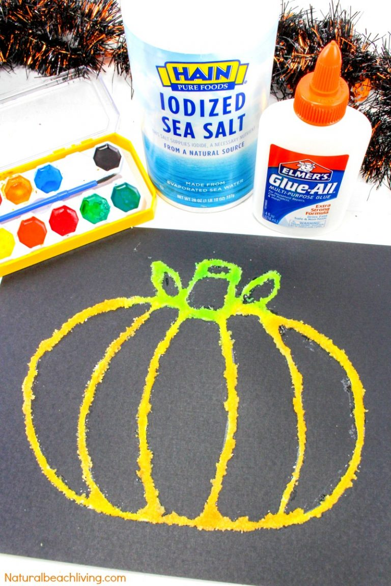 How to Make Halloween Pumpkin Salt Painting with Kids