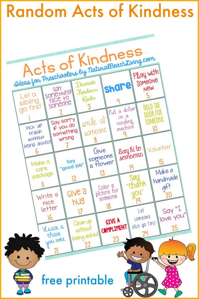 The Best Random Acts of Kindness Ideas for Preschoolers & Kindergarten, Random Acts of Kindness for Kids, Acts of Kindness Printables, Raising Grateful Kids, Kindness crafts for preschoolers and hundreds of Random Acts of Kindness Ideas