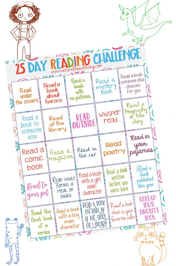 25 day reading challenge for kids, free printable, #books #read