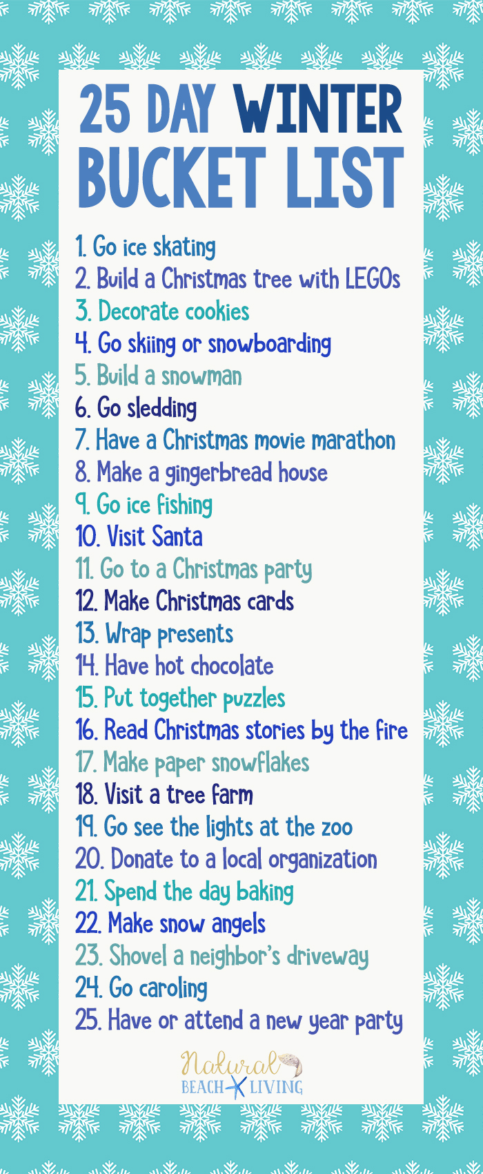 Winter Bucket List, 25 Day Winter Bucket List for Families