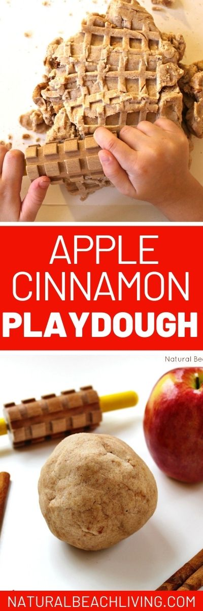 The Best No Cook Apple Cinnamon Playdough Recipe, The Most Amazing No Cook Apple Cinnamon Playdough Recipe, Sweet smelling and super soft homemade play dough, Fall playdough recipe and perfect sensory play for a preschool apple them. No Cook Apple Cinnamon Playdough recipe