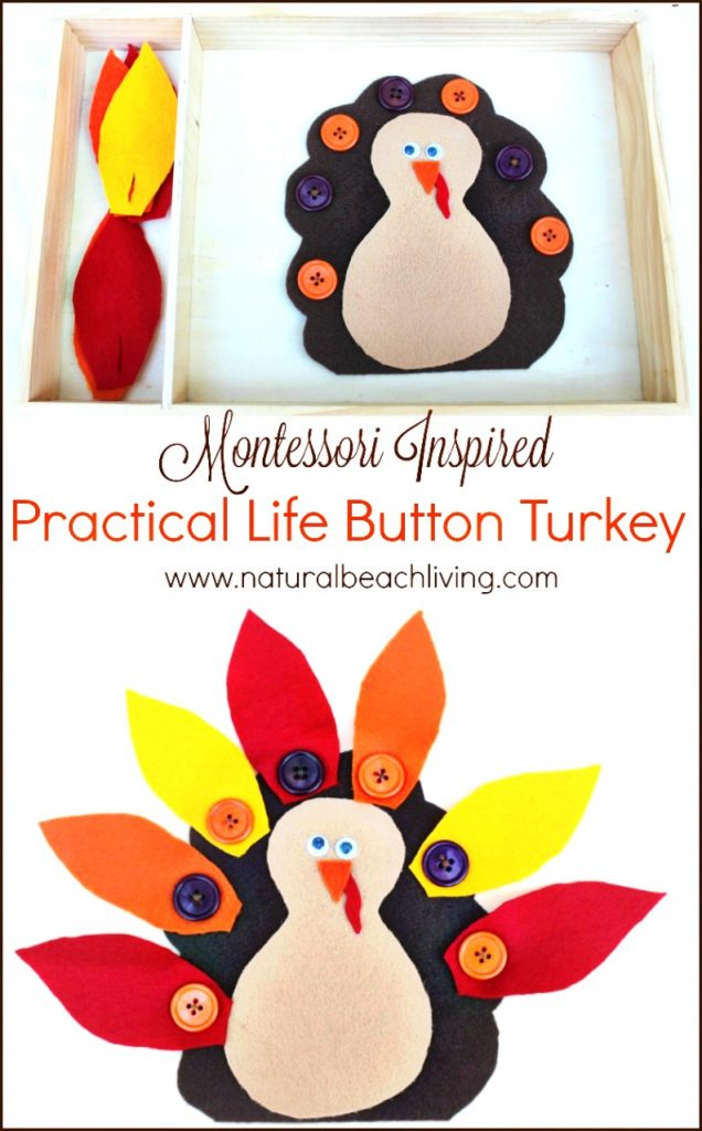 The Cutest Montessori Practical Life Button Turkey, Busy Bag, Easy DIY Thanksgiving Activity, Thanksgiving Preschool Activity, Great Fall Busy Bag Ideas, Fun Turkey Fine Motor Activity #Thanksgiving #Turkeycraft #Preschoolactivity #Montessori