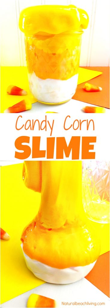 How to Make Candy Corn Slime Recipe, Jiggly Slime, Jiggly Slime Recipe, Borax Slime, Slime Recipe Easy, Halloween Slime Recipe, Homemade Slime Recipe for sensory play