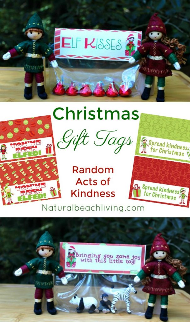 Random Acts of Kindness Christmas Gift Tags, Random Acts of Kindness Ideas, Christmas Advent Printables, Advent ideas, Elf activities, Christmas Bag Tags