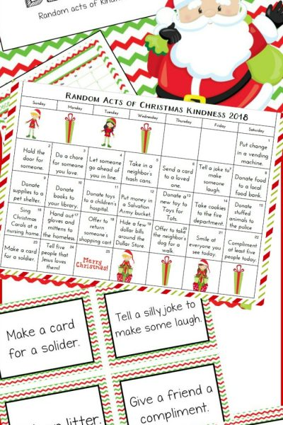 Free Christmas Calendar & Random Acts of Kindness Ideas Printable Cards