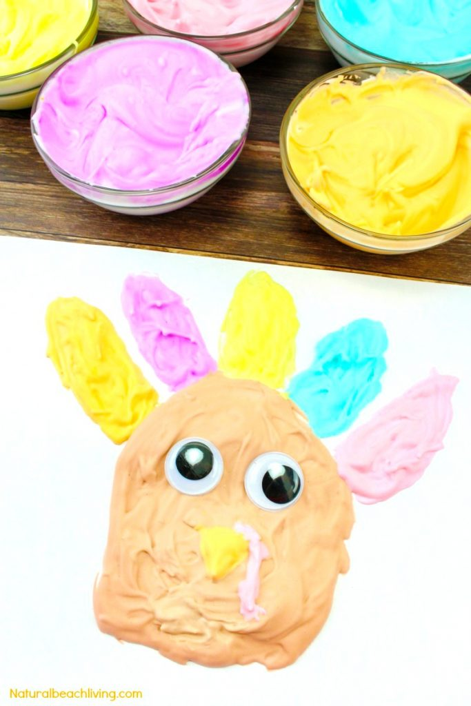 Easy Thanksgiving craft for kids, puffy paint recipe, Thanksgiving preschool activities