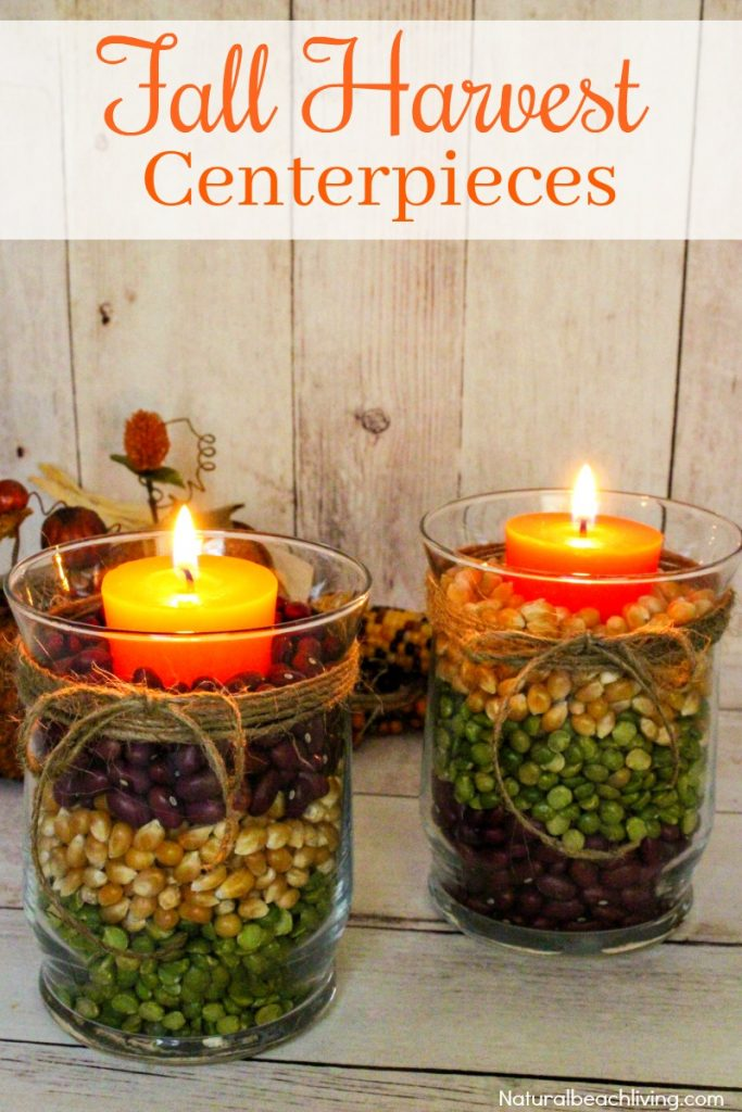 Easy Fall Table Centerpieces look great for a fall decoration or beautiful Harvest Centerpiece for Thanksgiving dinner. Make a DIY Fall Centerpiece in minutes, Fall Table Decor Ideas for a lovely Fall Candle Centerpiece Ideas
