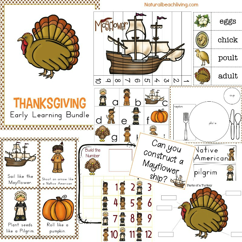 The Best Kindergarten and Preschool Thanksgiving Theme Lesson Plan, Preschool Thanksgiving activities, preschool theme filled with the life cycle of a turkey science, Mayflower STEM, Thanksgiving crafts, Movement cards, Thanksgiving writing center, alphabet tray, Montessori activities and more #Thanksgiving #stem #preschool #kindergarten