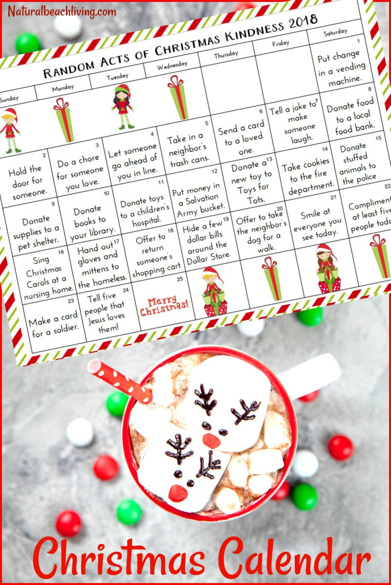 25 Random Acts of Kindness Christmas Calendar, Random Acts of Kindness ideas, random acts of kindness for Christmas, Random Acts of Christmas Advent Calendar, RAOK,