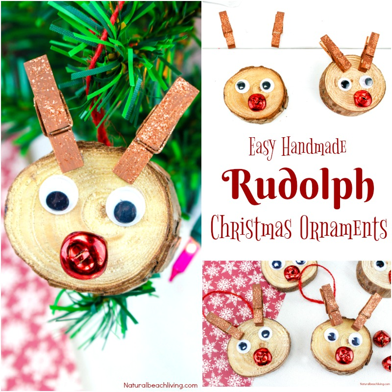 Easy to Make Rudolph Christmas Ornaments Kids Will Love, Christmas ornaments kids can make,