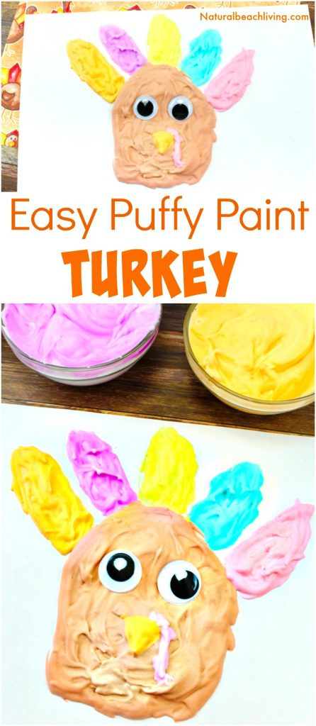 If you are looking for Easy Thanksgiving Crafts Kids will love making this easy to make puffy paint turkey is Perfect! Homemade puffy paint recipe, Thanksgiving preschool crafts, Turkey craft #Thanksgiving #preschoolcrafts