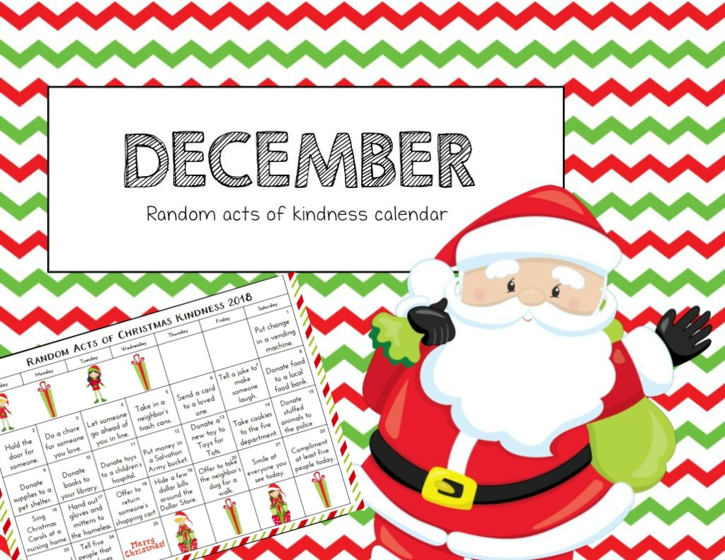 Free Printable Christmas Random Acts of Kindness Calendar and acts of kindess cards, Random Acts of Kindness Ideas, Random Acts of Kindness Calendar 2018, Free Random Acts of Kindness Printables, December Calendar, Christmas Kindness