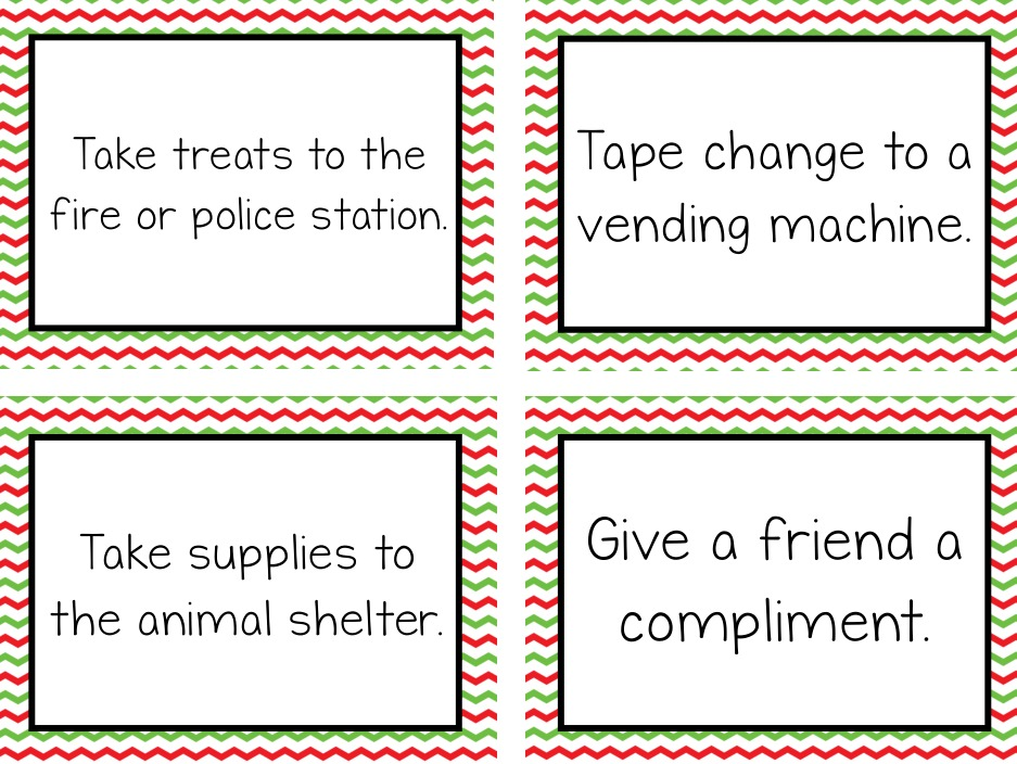 graphic regarding Kindness Cards Printable titled Free of charge Xmas Calendar Random Functions of Kindness Suggestions
