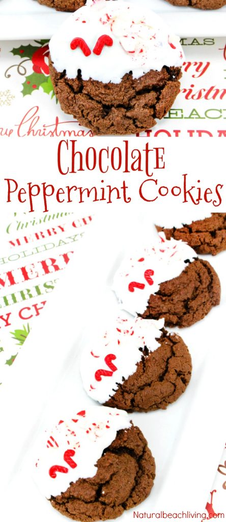 Easy Peppermint Cookies Recipe, These Soft and Chewy Chocolate Cookies are perfect Christmas Cookies, Chocolate Peppermint Christmas Cookies, Chocolate Cookies Recipes, Simple Homemade Cookies