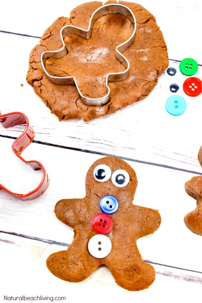 The Best Gingerbread Playdough Recipe, You'll find THE BEST No-Cook Playdough Here, Gingerbread Playdough No Cream of Tartar, Homemade Playdough without cream of tartar, This Scented Playdough is the perfect Christmas Playdough Idea, Edible Playdough recipe, Gingerbread Man Playdough
