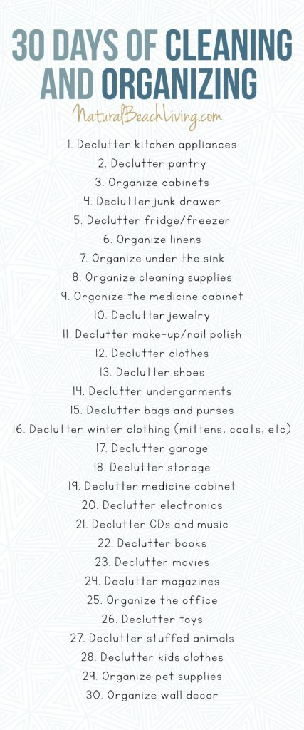 30 Days of Cleaning and Organizing Challenge - Free Printable Declutter Checklist, Cleaning and Organizing Checklist, Cleaning and Organizing Challenge, daily declutter challenge, free 30 days to an organized home pdf, Free declutter printable, #organization #organizationchallenge #declutter #minimizing
