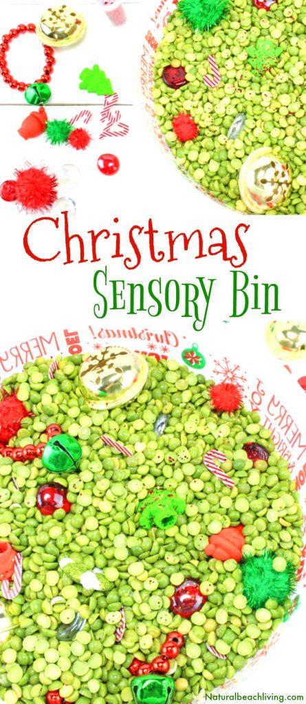 Easy Christmas Sensory Bin for Preschoolers, Christmas Sensory Bin Ideas, Christmas Sensory Bins, Sensory Bins for Toddlers, Christmas Sensory Table ideas, Sensory Play, #Christmas #Christmassensorybins #Christmasactivities #sensoryplay #sensorybins