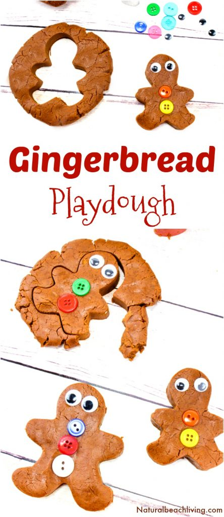 The Best Gingerbread Playdough Recipe, No-Cook Playdough, Gingerbread Playdough No Cream of Tartar, Homemade Playdough without cream of tartar, Scented Playdough, Edible Playdough recipe, Gingerbread Man Playdough, Winter Sensory Play #playdough #homemadeplaydough #gingerbread #gingerbreadplaydough #Christmas #gingerbreadmen