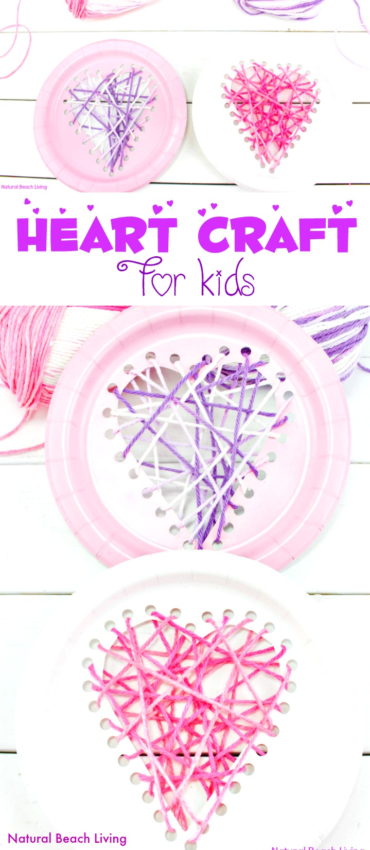 Yarn Paper Plate Heart Craft Beginner Sewing For Preschool And