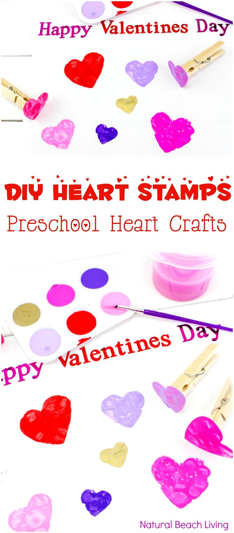 DIY Heart Stamps for Preschool Heart Crafts, Easy Heart Art for Valentine's Day, Preschool Valentines Crafts and Fine Motor Activities for toddlers and preschoolers, Easy Preschool Art Projects for a heart theme, Fun Kindergarten and Preschool heart crafts, February Preschool Themes, Crafts for kids