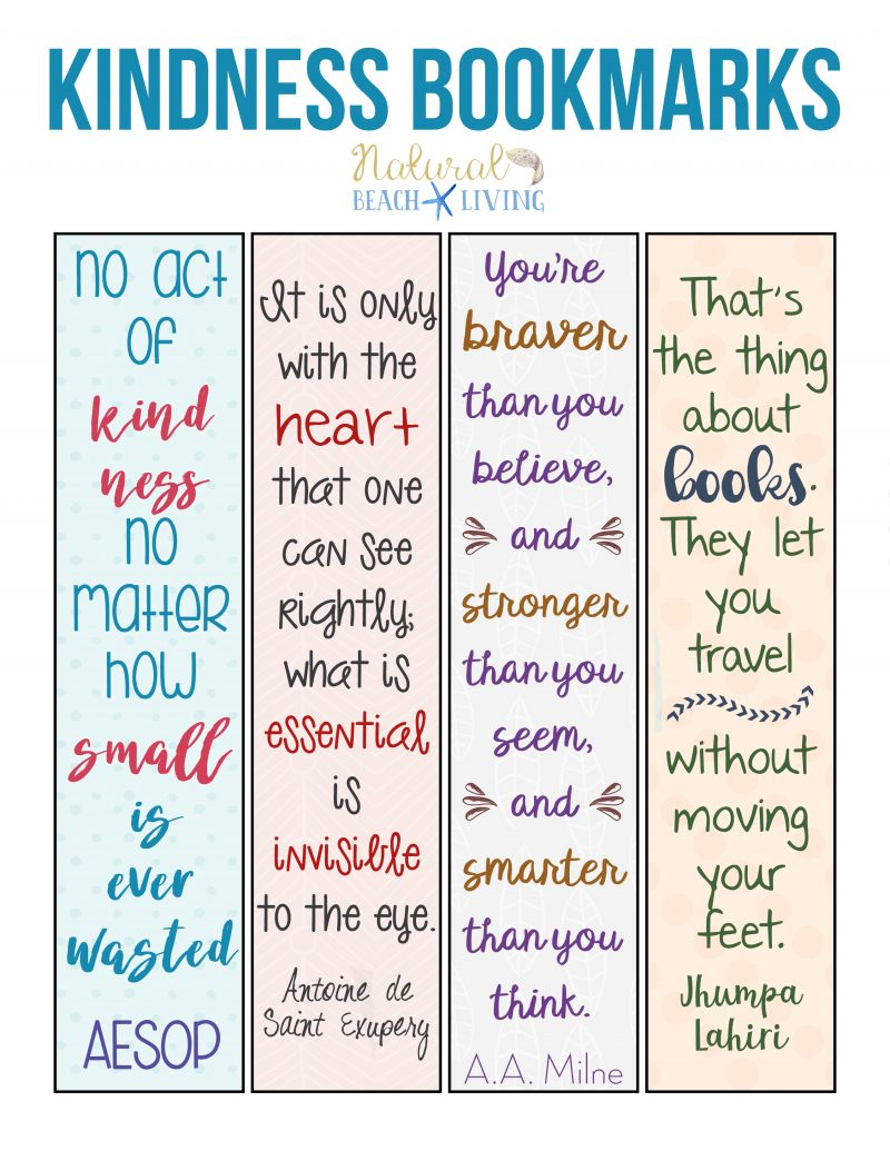 picture relating to Free Printable Quotes Pdf called Absolutely free Random Functions of Kindness Printable Bookmarks - Organic and natural