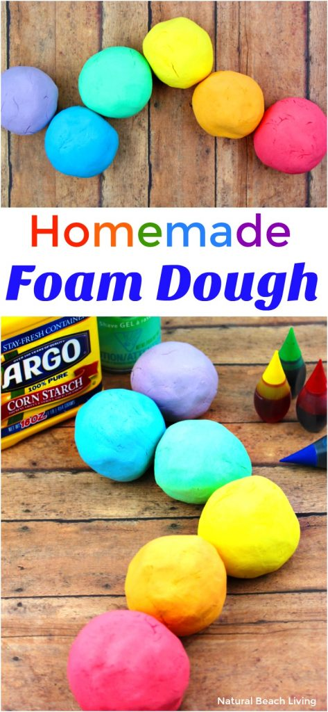 How to Make Shaving Cream Play dough Recipe - Easy Foam Dough, Shaving Cream Playdough Recipe, Your children will love to squish the cornstarch and shaving cream together to make a batch of foam play dough for an afternoon playdate, sensory activity, or just some messy play. Rainbow Foam Dough, Soft Silky Playdough Sensory Play that feels amazing! Spring activities for kids, Rainbow Theme