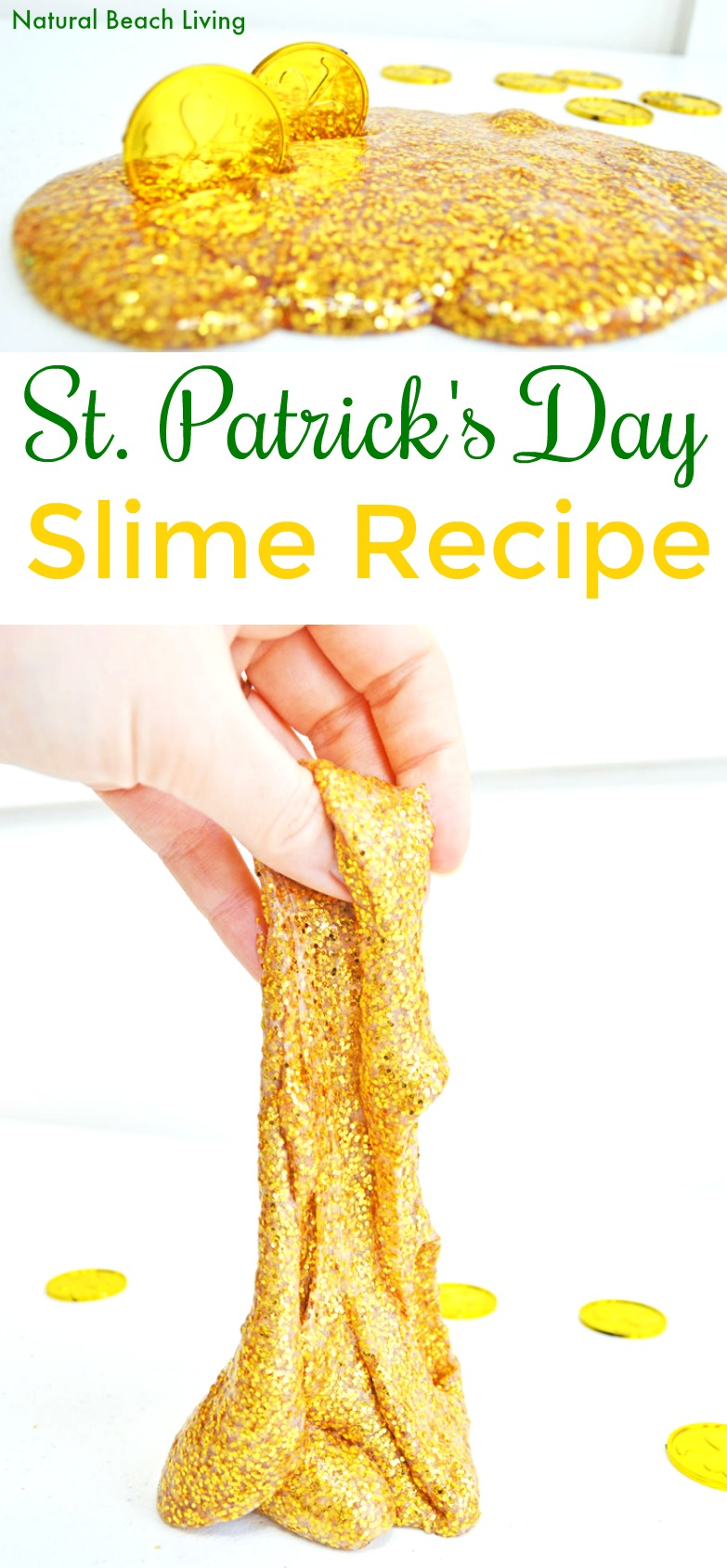 How to Make Slime Recipe with Contact Solution Kids Loves, Gold Glitter Slime, Gold Glitter Contact Solution Slime Recipe or Saline Solution slime with glue! One of the Best Sensory Play for Kids, St. Patrick's Day Slime Recipe, Homemade slime is super easy to make with our slime recipes. The Best Ways to Make Slime, Easy Slime Recipe with Baking Soda #slime #slimerecipe #slimerecipes #stpatricksday #stpatricksdaysensoryplay