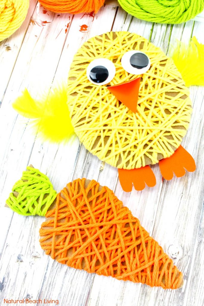 Easter Crafts for Kids, These Adorable Yarn Crafts for Preschoolers and Easy Easter Crafts for Preschoolers are so much fun! Add these to your Preschool Easter activities, Just a few items needed to create this cute Easter craft Kids Love to Make