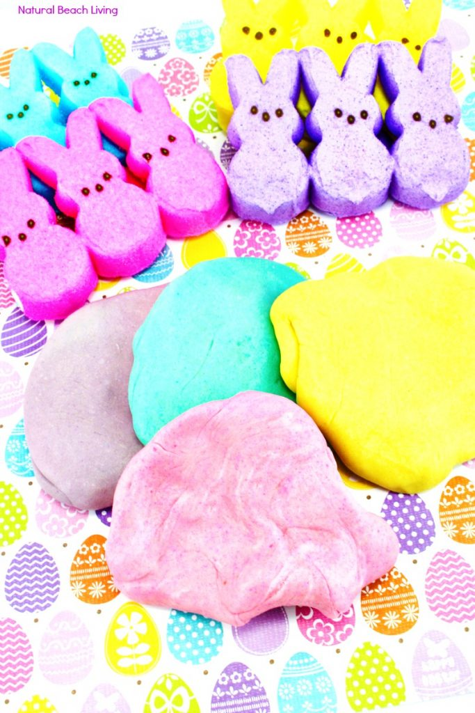 The Best Marshmallow Peeps Play dough Recipe, It's an Edible Playdough that's fun and a perfect Easter Sensory Play Idea, Homemade Playdough Recipe, Are you ready to see How to Make Peeps Playdough that your kids will love. Easter Playdough, Spring Sensory Play, Easy Playdough Recipe, Marshmallow Playdough Recipes