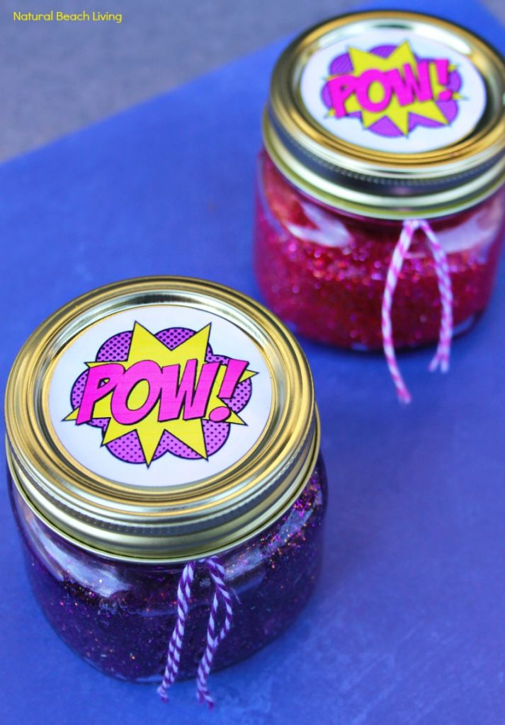 How to Make Slime with Contact Solution, Superhero Glitter Slime Recipe with Free Printables, This homemade Slime Recipe is perfect for a Superhero Birthday Party Theme, This DIY Glitter Slime also makes a great gift idea for Kids, how to make slime with contact solution and baking soda, Best Slime Recipes for Kids, Slime Recipe with Saline Solution