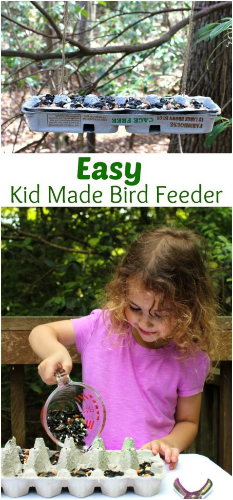 This Easy Kid Made Bird Feeder from Recycled Material is a great DIY bird feeder. Making homemade bird feeders for your backyard is a great way for you and your children to get to learn about backyard birds. How To Make a Bird Feeder Out of Recycled Materials, Bird Feeder Craft, Homemade Bird Feeder, Kid Made Bird Feeder, DIY Bird Feeder, Easy Bird Feeder for Kids to make, a fun spring craft idea, Backyard Birds Activities and Bird Theme for Kids, Nature Activities for the whole year, Montessori Practical Life Ideas, Bird Seed Treats
