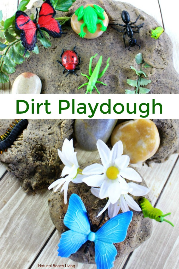 Dirt Coffee Ground Play Dough Recipe Kids Love, Fun Playdough Activities and Mud Playdough, Insect activities, Coffee Ground Playdough, Coffee Playdough Recipe, Make Dirt playdough Kids love to drive trucks through, find insects in, and make fossils, Soft Homemade Cooked Playdough, Nature Sensory Play, Spring Sensory Activities