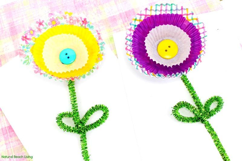 Cupcake Liner Flower Craft Spring Flower Craft For Kids Natural