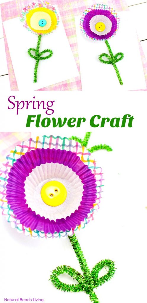 Cupcake Liner Flower Craft, Spring Flower Craft, Your kids will love making this flower craft, A lovely Mother's Day Craft idea for kids to make. spring craft, Flower Theme for preschoolers, Add this craft idea to any flower unit, Cupcake Liner Flowers, Paper Flower Craft, flower crafts for kids, Spring flower crafts for Preschoolers