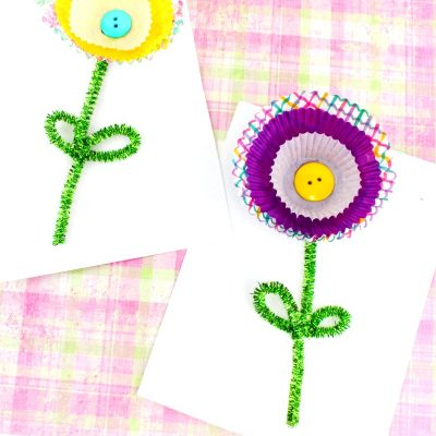 Cupcake Liner Flower Craft – Spring Flower Craft for Kids