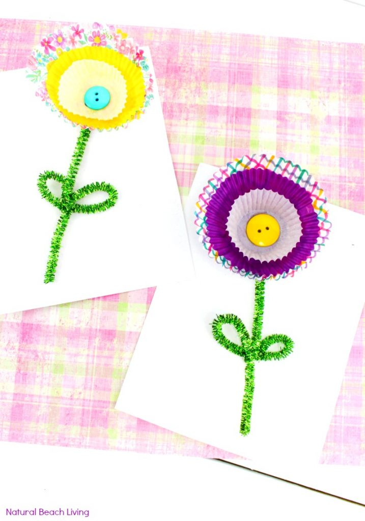 Cupcake Liner Flower Craft, Spring Flower Craft, Your kids will love making this flower craft, A lovely Mother's Day Craft idea for kids to make. spring craft, Flower Theme for preschoolers, Add this craft idea to any flower unit, Cupcake Liner Flowers, Paper Flower Craft, flower crafts for kids, Spring flower crafts for Preschoolers,