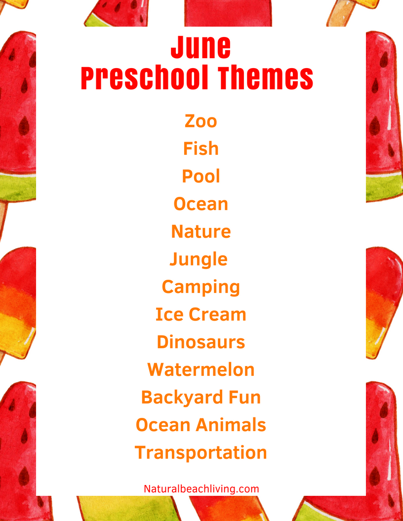 June Preschool Themes with Lesson Plans and Activities, Over 30 Ideas and Activities for Summer Preschool Themes, lesson plans and activities for homeschool, summer camp, daycare or summer fun at home. These June themes are perfect for preschoolers through early elementary. Ocean Activities for Kids, Summer Activities for Kids, Summer Lesson Plans for Preschool and Kindergarten