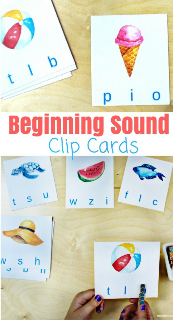 Free Beginning Sound Clip Cards - Summer Alphabet Printables, Children will love identifying beginning sounds with these super cute summer-themed clip cards! Summer Theme Alphabet Cards are a great letter sounds activity for Preschool and Kindergarten, free printable letter sound cards, beginning sounds alphabet clip cards