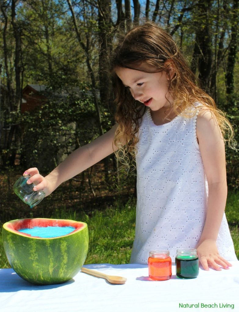 Watermelon Science Activities Baking Soda and Vinegar Erupting Science Experiment, This Hands-on Activity is a perfect Summer Science idea. Kids love this bubbly Volcano Science Activity it also has great Science Videos, Watermelon Activities for Toddlers, Preschoolers, Kindergarten Science, Easy and Fun Science activities for Kids, Baking Soda and Vinegar Science ideas