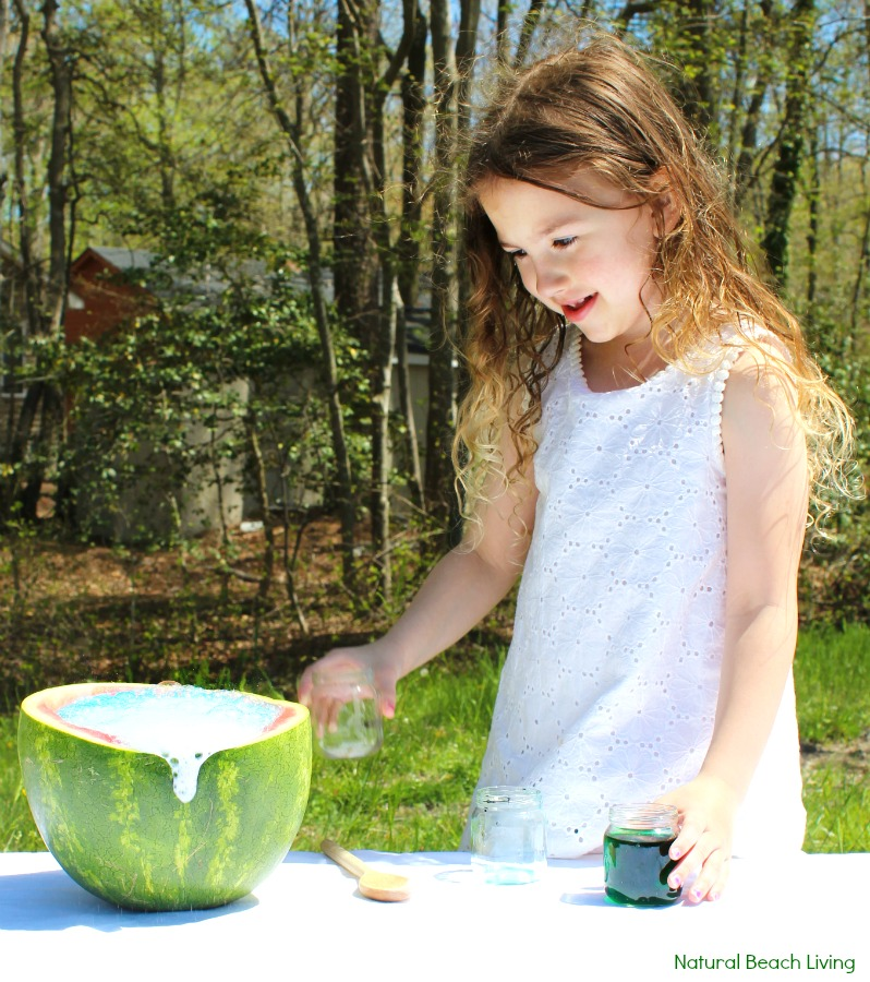 Watermelon Science Activities Baking Soda and Vinegar Erupting Science Experiment, This Hands-on Activity is a perfect Summer Science idea. Kids love this bubbly Volcano Science Activity it also has great Science Videos, Watermelon Activities for Toddlers, Preschoolers, Kindergarten Science, Easy and Fun Science activities for Kids, Baking Soda and Vinegar Science ideas #scienceforkids #watermelon #preschool #preschoolscience #kindergarten #watermelonactivities #summer #summeractivities