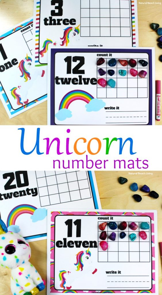 Unicorn Number Mats - Adorable Unicorn and Rainbow Free Playdough Number Mats 1-20, Unicorn Printable Number Mats are perfect for a Unicorn Theme, children will work on writing numbers, number sense, fine motor skills, and hands on activities for preschoolers and Kindergarten. Fun Unicorn Math activities for kids