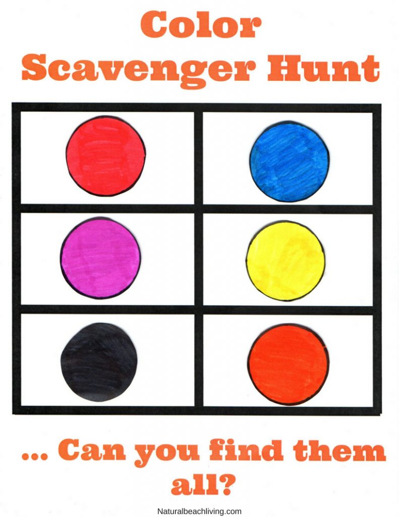 Color Scavenger Hunt for toddlers and preschoolers, This Color Scavenger Hunt Printable is perfect for indoor and outdoor color activities for Kids, Easy to do activity and the kids love matching colors, Take it outside for a Nature Color Scavenger Hunt