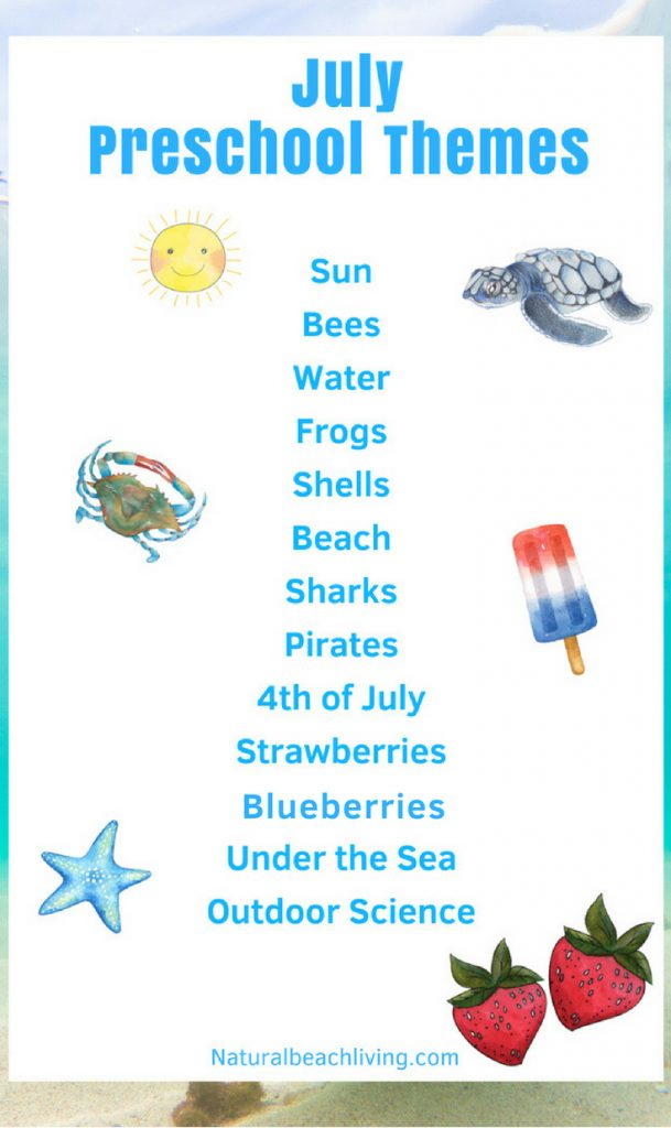 July Preschool Themes with Lesson Plans and Activities, Summer Themes for Preschool, Preschool Activities for Summer hands on learning, Summer Preschool Themes, July activities and summer themes for preschool and Kindergarten