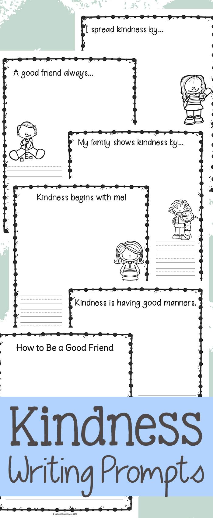 Kindness Writing Prompts for Kindergarten