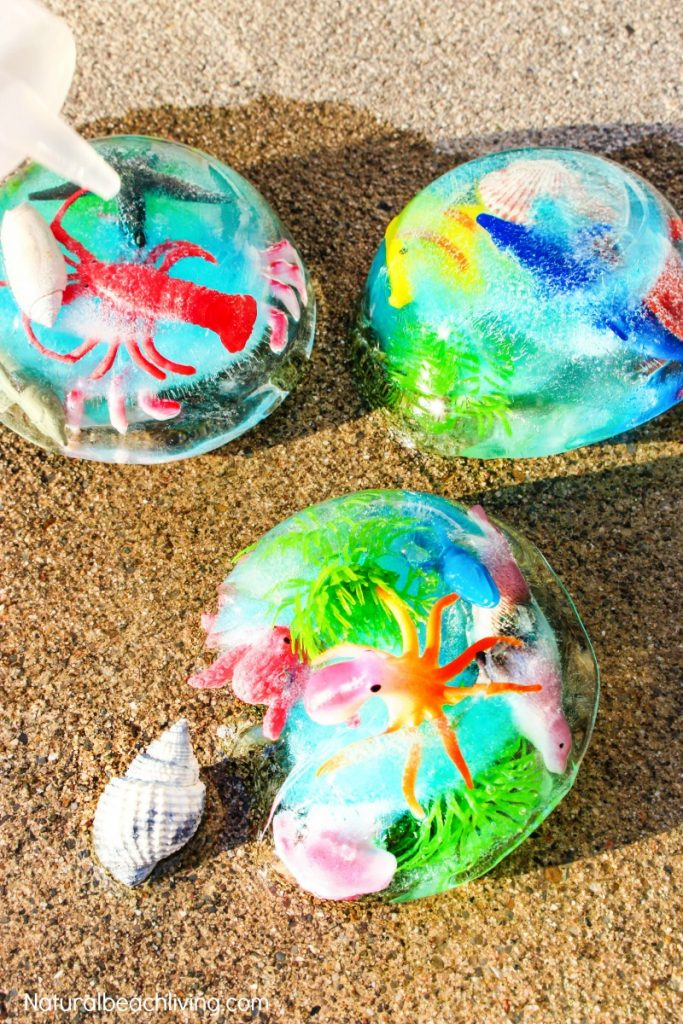Ocean Theme Preschool, Ocean Theme Preschool Activities, Ocean Activities, Ocean Sensory Activities, Ocean Sensory Play, Frozen Ocean Sensory Bin, Ocean Themed Sensory Activities, Ocean Science for Toddlers and Preschoolers
