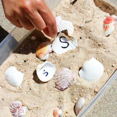 Letter Matching Seashell Sensory Bin for Preschool