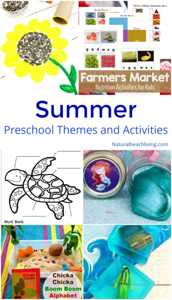 These August Preschool Themes with Lesson Plans and Activities are full of hands-on activities to do in the summer, hundreds of preschool themes for the year, list of themes for preschool, preschool themes for August, august themes for toddlers, preschoolers and kindergarten, preschool activities for science, math, crafts, learning about sea turtles and sunflowers, hands-on activities, reading, writing and more.
