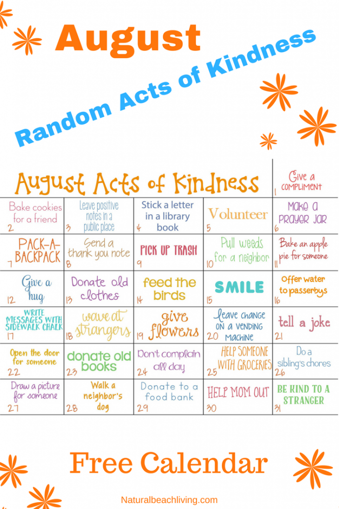 Sharing Random Acts of Kindness Ideas for August everyone can enjoy, Kindness Calendar August 2018, 31 Random acts of kindness examples in a printable Kindness Calendar for August. Fun and Easy ways to Spread Joy and Happiness